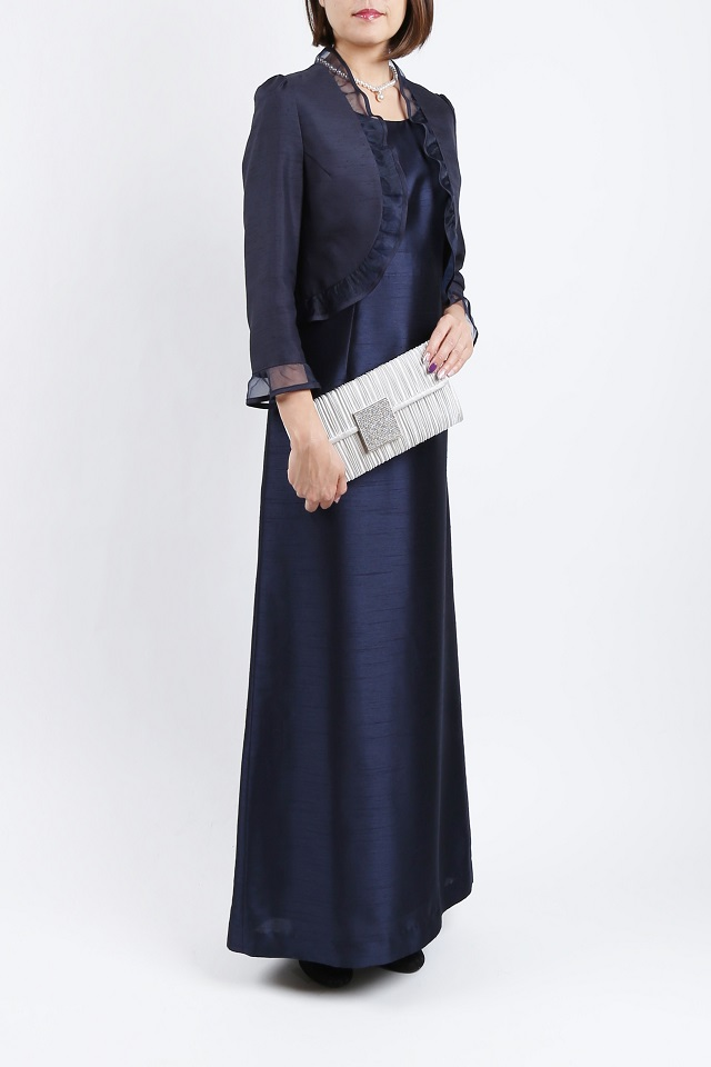 SOIR DOLCEの上品なネイビーマキシ丈ドレス