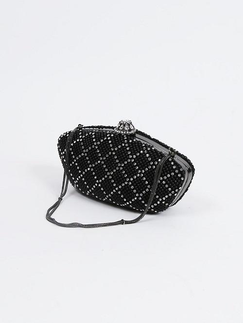 シルバーラインストーンのハンドバッグ