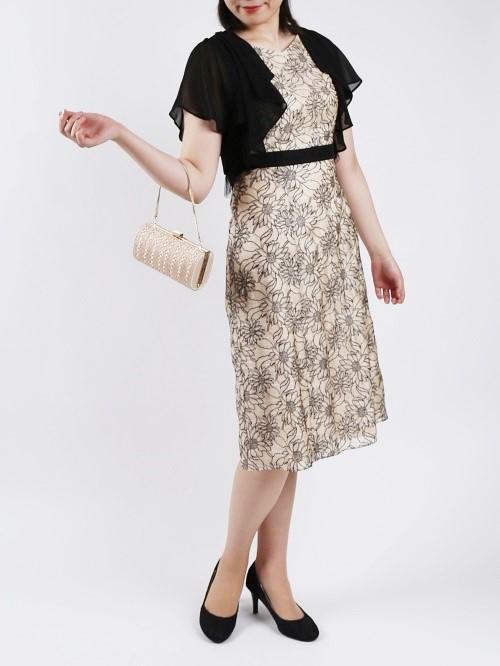 花柄刺繍ウエスト切り替えドレス