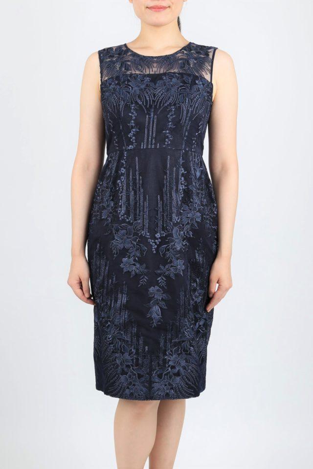 レース刺繍が豪華なタイトドレス(ネイビー)