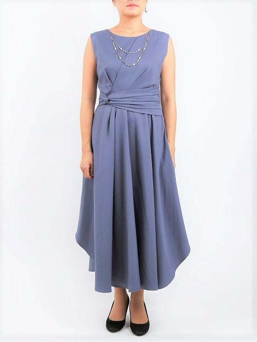 ドレープラインが上品なオトナドレス(モーブ)